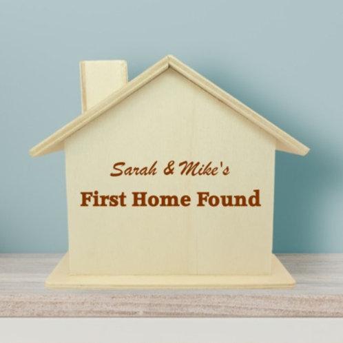Wooden Money Box - First Home Found