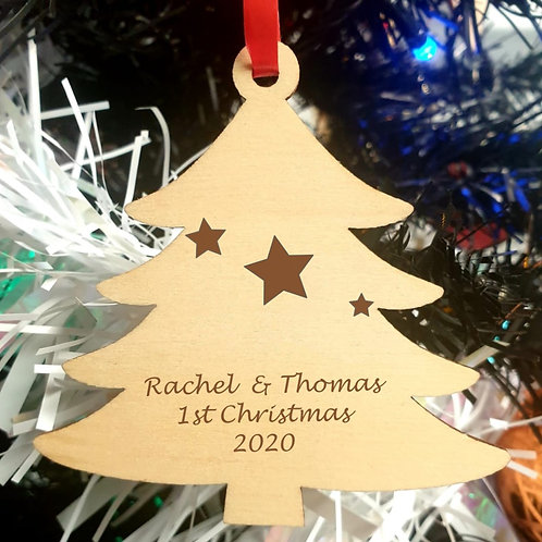Personalised Wooden Decoration - Tree - Message