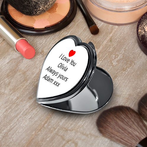 Personalised Heart Compact Mirror - Heart & Message