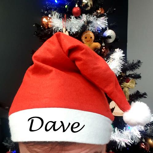 Personalised Red Santa Christmas Hat - Name
