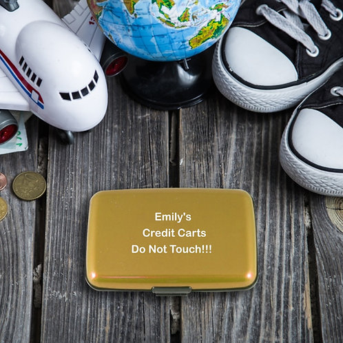 Personalised Metal Credit Card Holder - Do Not Touch!!!