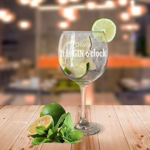 Personalised Gin Glass - It is GIN o'clock