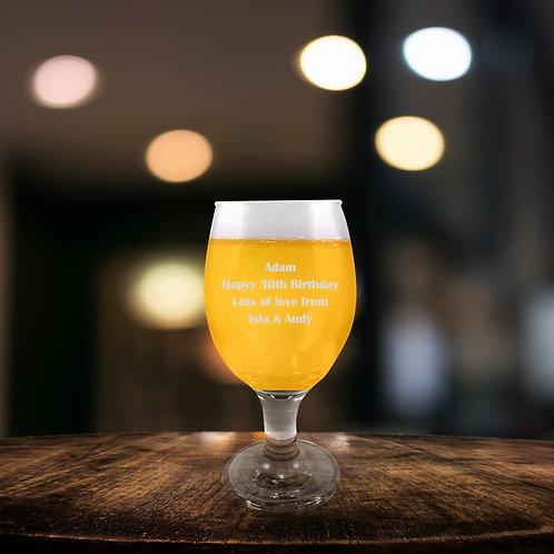 Personlised Stemmed Beer Glass - Message