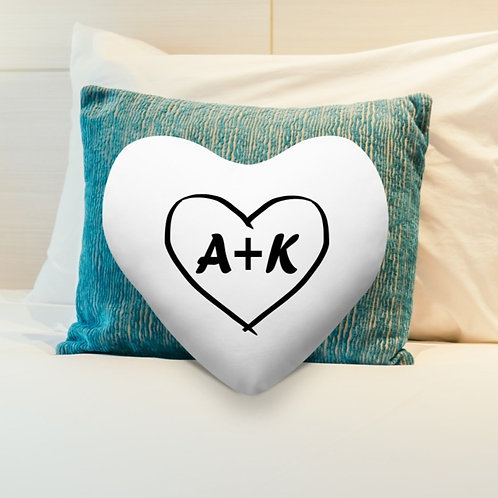 Personalised Heart Shaped Cushion Cover - Initials