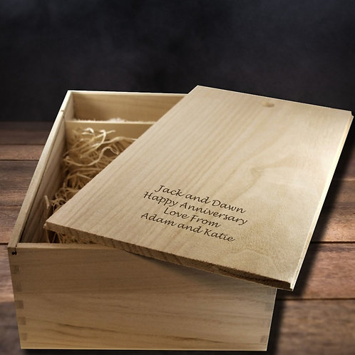 Personalised Double Wooden Wine Box
