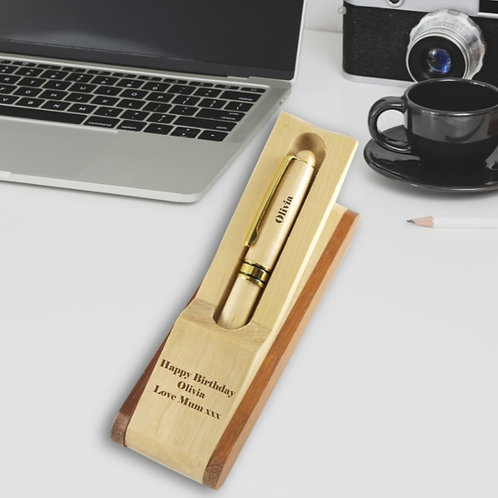 Personalised Wooden Pencil Case with Holder and Pen