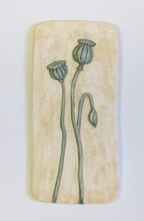 Poppy ceramic wall plaque