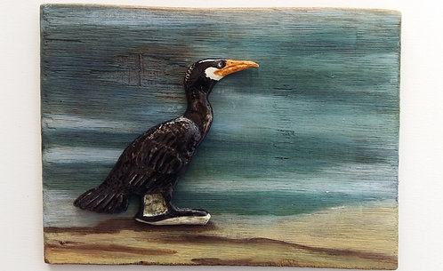 Small cormorant wall plaque