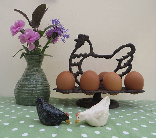 Two pecking hens, one black one white.