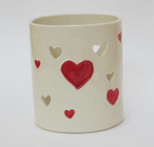 Red and white Heart Tea Light Holder