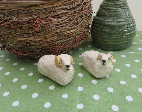 Cute pair ceramic rams