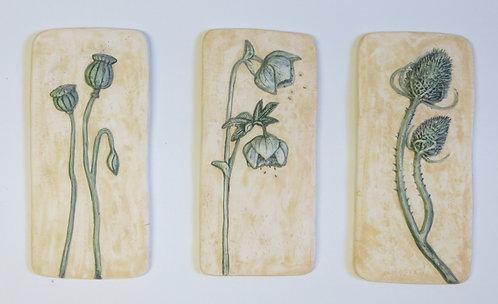 Set of three ceramic wall plaques