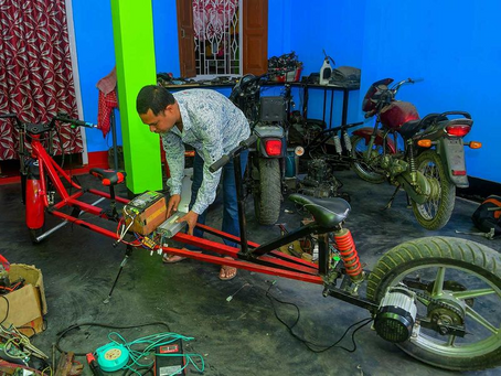 """Mechanic from Tripura invents """"Social distancing"""" motorbike"""