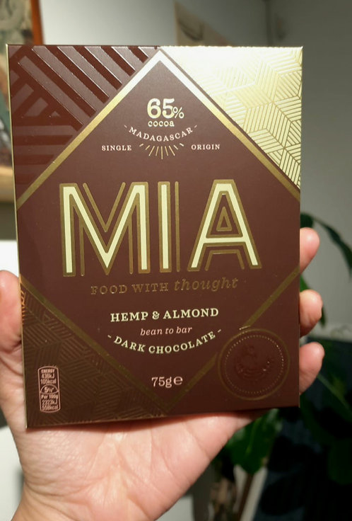 New! Hemp & Almond, Madagascar Dark Chocolate Bar - MIA