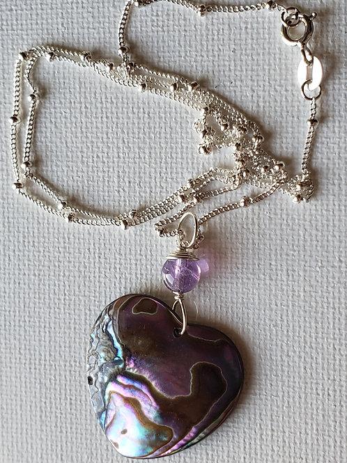 "Paua Heart Pink Shaded Shell 18"" SS necklace"