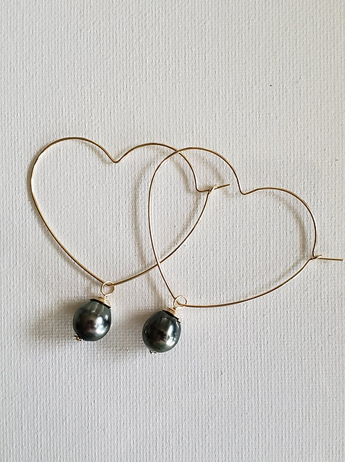 """1"""" Tahitian Pearls gold-filled heart hoops"""