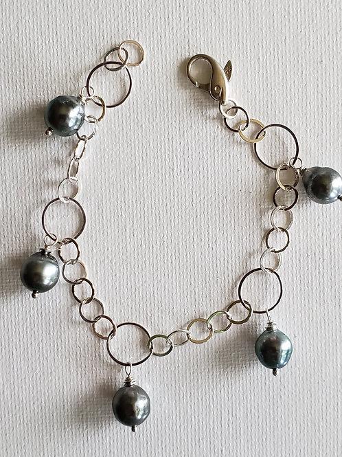 Tahitian Pearls Bracelet size S Sterling Silver