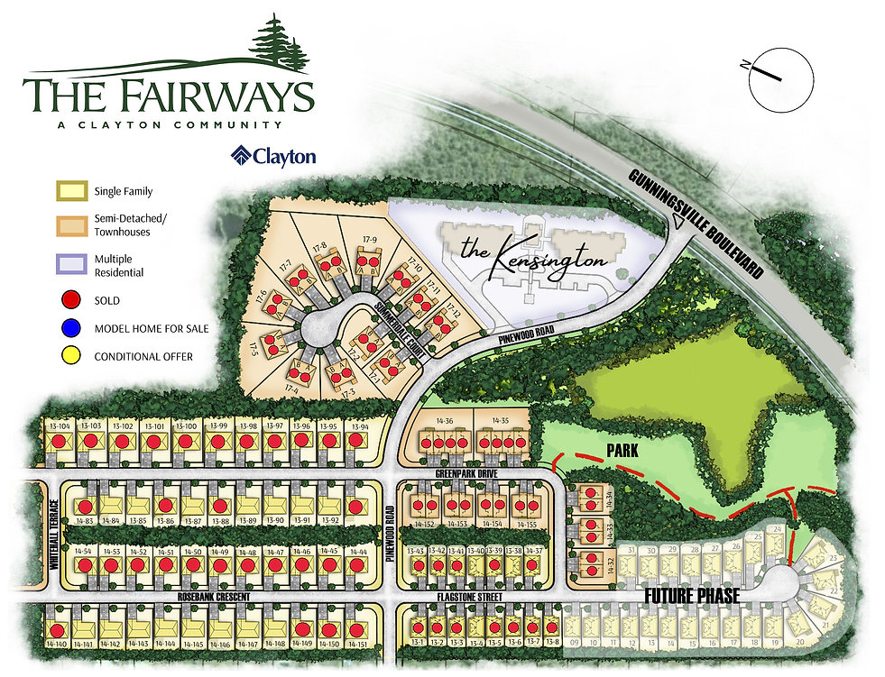 Fairways Colour Plan- with Sales Dots (J