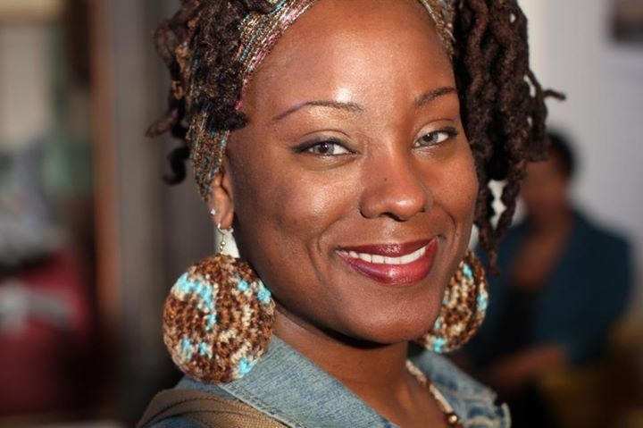 The beautiful Angelica P Williams-Rice showing off her new crochet earrings
