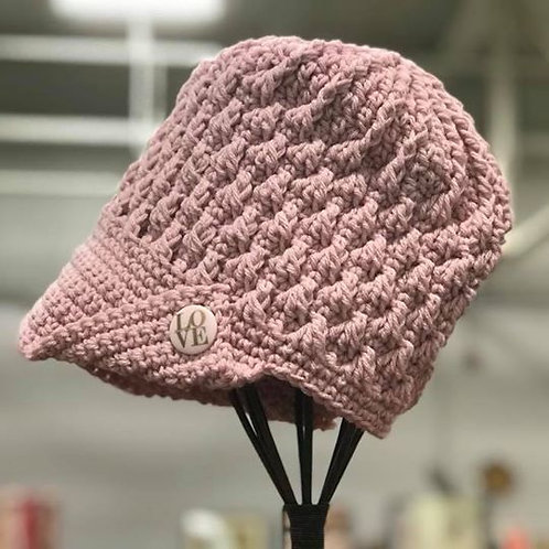 Pink Peaked Button Hat