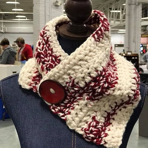 Crimson Chunky Button Cowl