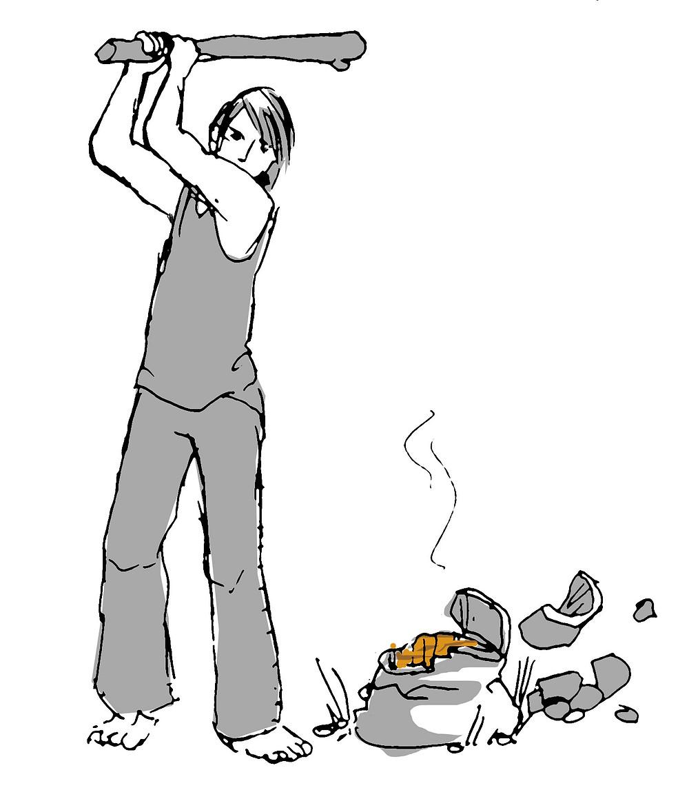 Roheisenbearbeitung - zerschlagen des Ofens