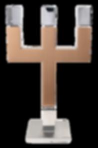 MWE Kerzenständer 3flamig Edelstahl-Kupfer