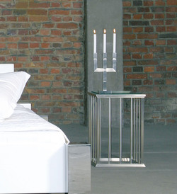 Nachttisch Bettkonsole in Edelstahl
