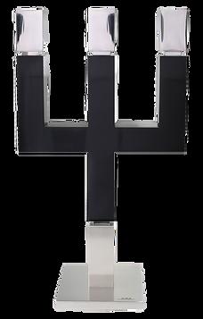 MWE Kerzenständer 3flamig Edelstahl-Schwarz