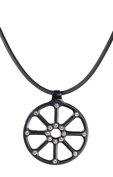 Halskette Spider Edelstahl schwarz mit Swarovskisteinen