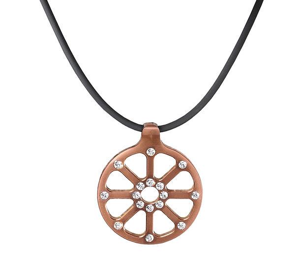 Halskette Spider Edelstahl-Kupfer mit Swarovskisteinen