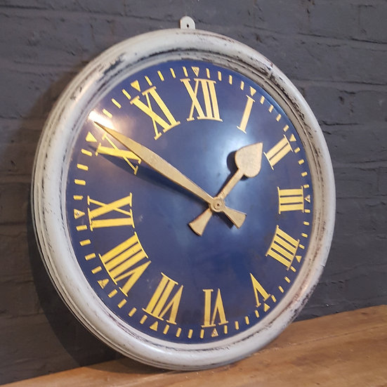 614 -BOLD BLUE AND GOLD WALL CLOCK