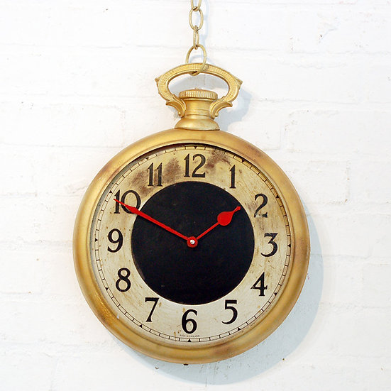211-Hire Only - Gold Pocket Watch Clock with Chain