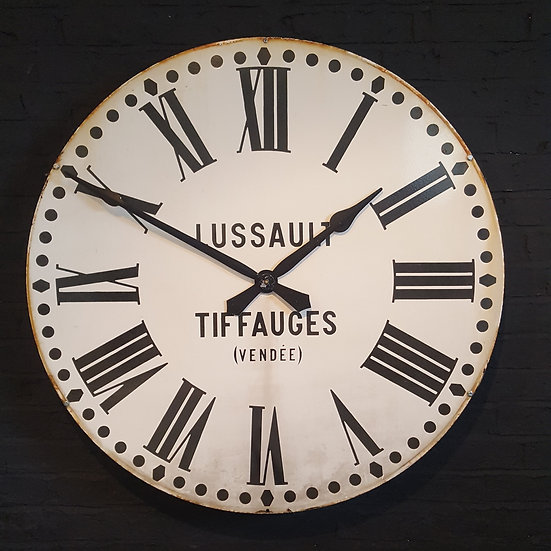 295-Large Circular Enamel Turret Clock