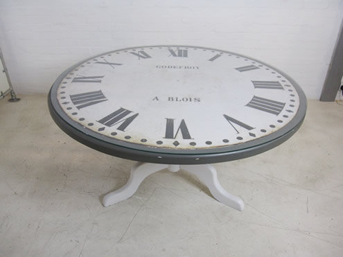 398-Glass Table with Clock Dial