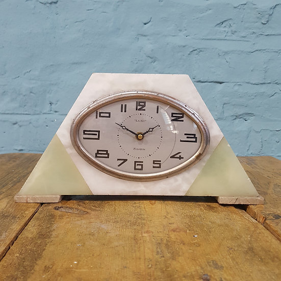 676 - French Art Deco Marble Mantel Clock