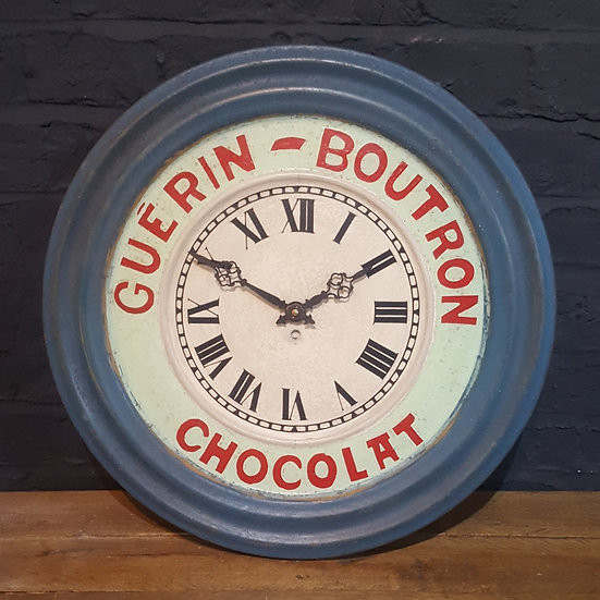 624 -1930s French Tole (tin) Advertising Clock