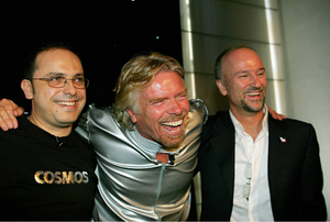 Happier days: Wilson da Silva (left), Richard Branson and Brett Godfrey in Sydney in 2005.