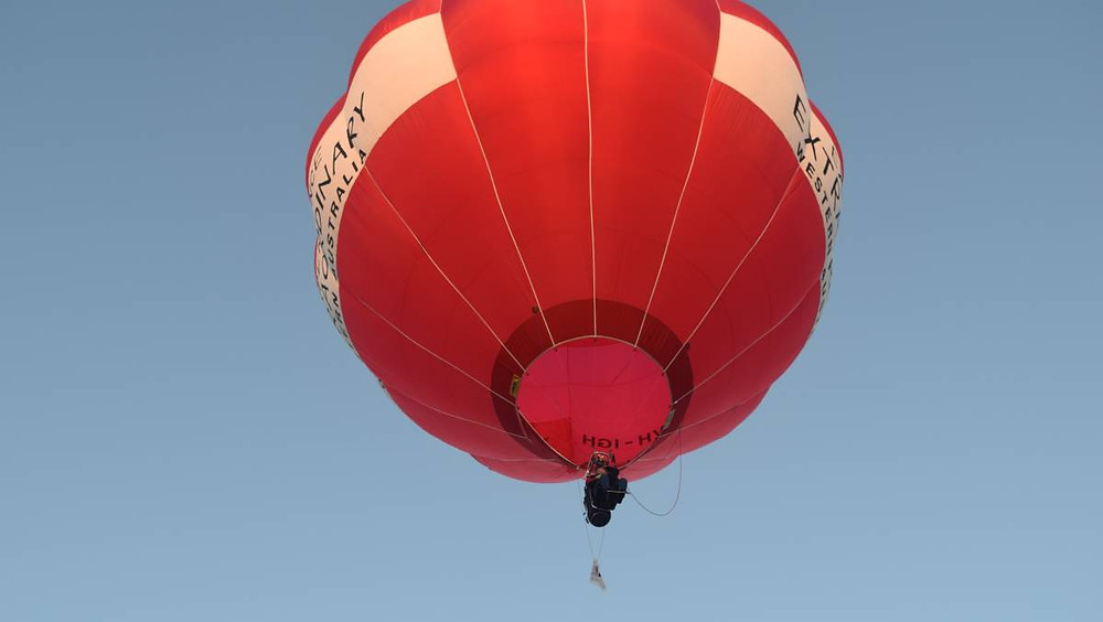 Geoff Howe rides solo in a hot-air balloon