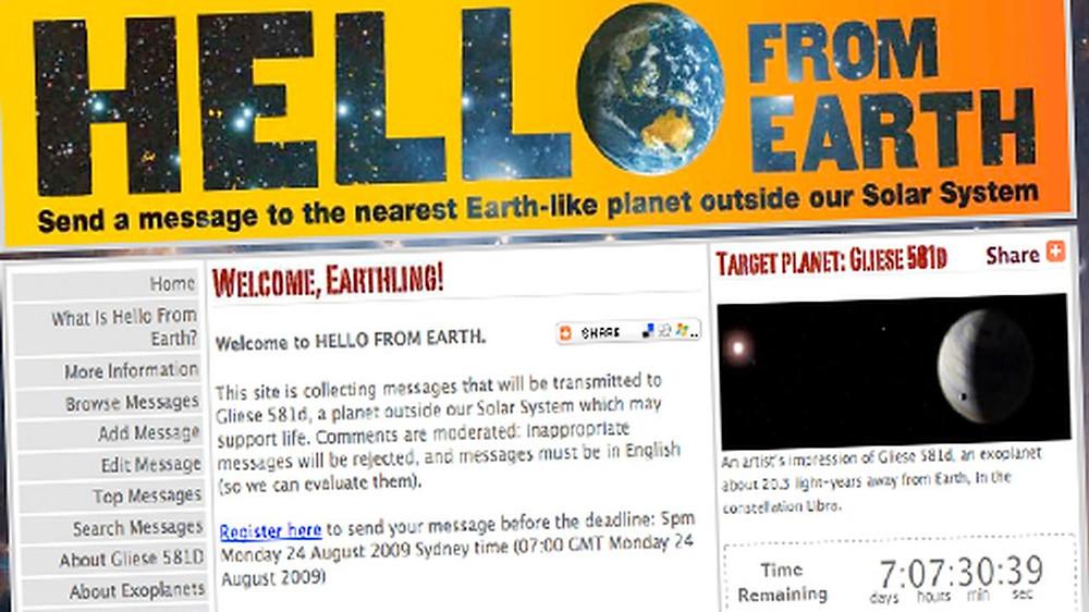 Strona internetowa przyjmuje przesłania do kosmitów