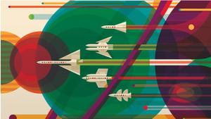 Artwork for a poster for an imaginary tour to Jupiter, Saturn, Uranus and Neptune (NASA/JPL-Caltech)