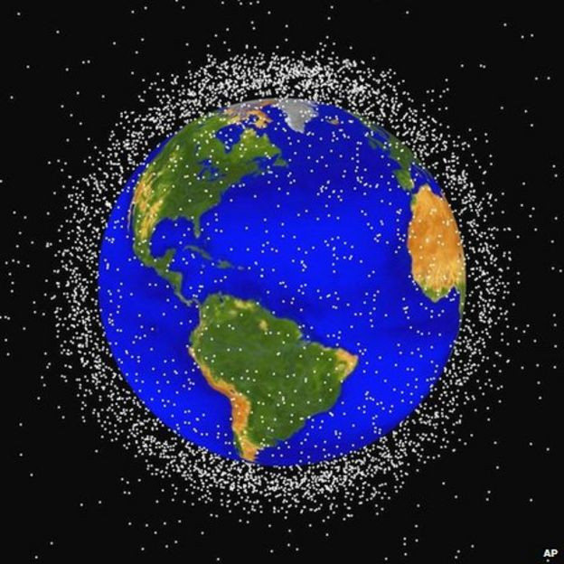 A NASA computer generated graphic showing objects in Earth orbit being tracked