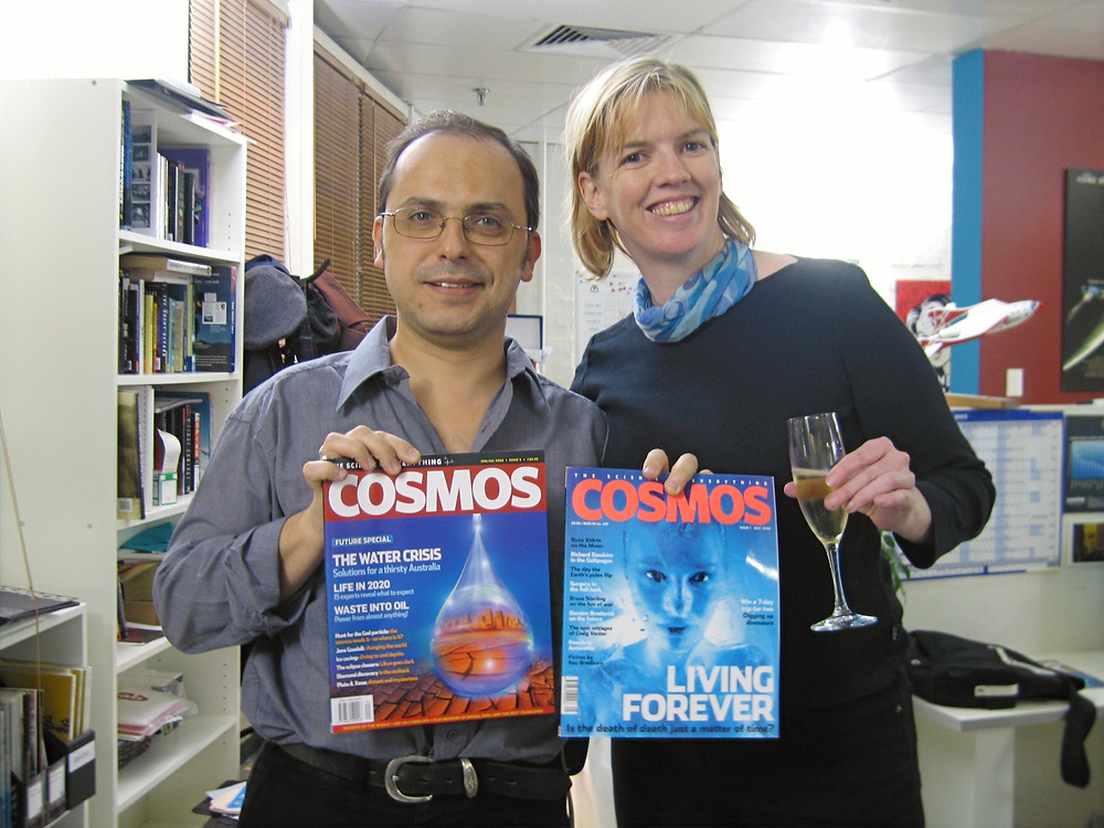 Editor Wilson da Silva and publisher Kylie Ahern at the offices of COSMOS