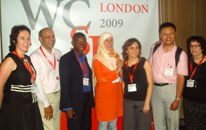 Nadia el-Awady (centre), elected president of the World Federation of Science Journalists, with the new board