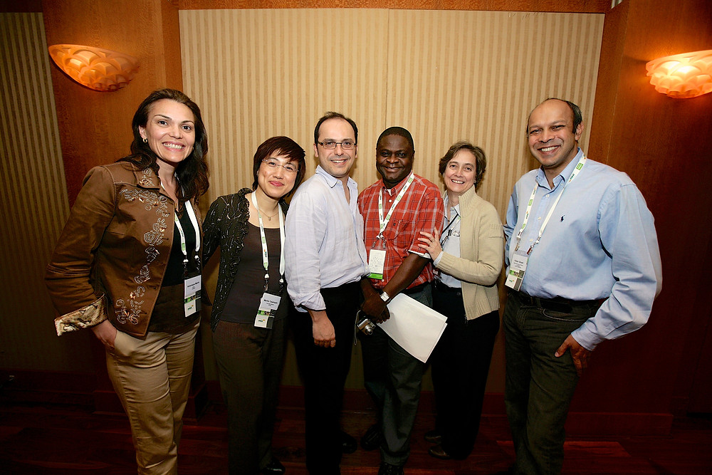 Wilson da Silva, centre, with the board of the World Federation of Science Journalists