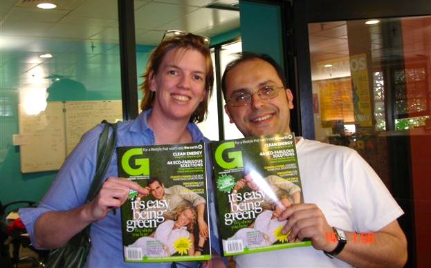 Publisher Kylie Ahern and editor-in-chief Wilson da Silva with the first issue of G Magazine