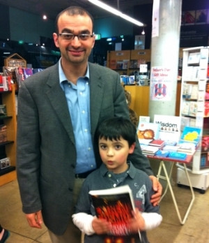 Bryan Gaensler and his son Finn at the book launch