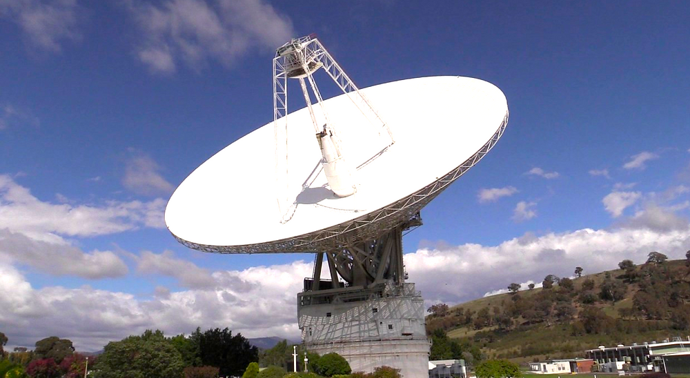The transmitter at the Tidbinbilla Deep Space Communication Complex outside Canberra