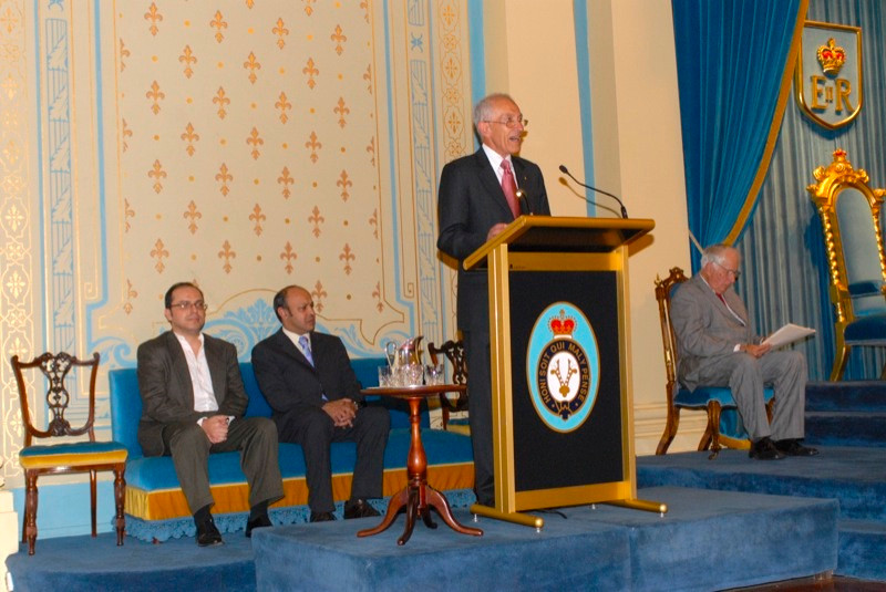 WFSJ presidents Wilson da Silva with Pallab Ghosh listen to David de Kretser, Governor of Victoria
