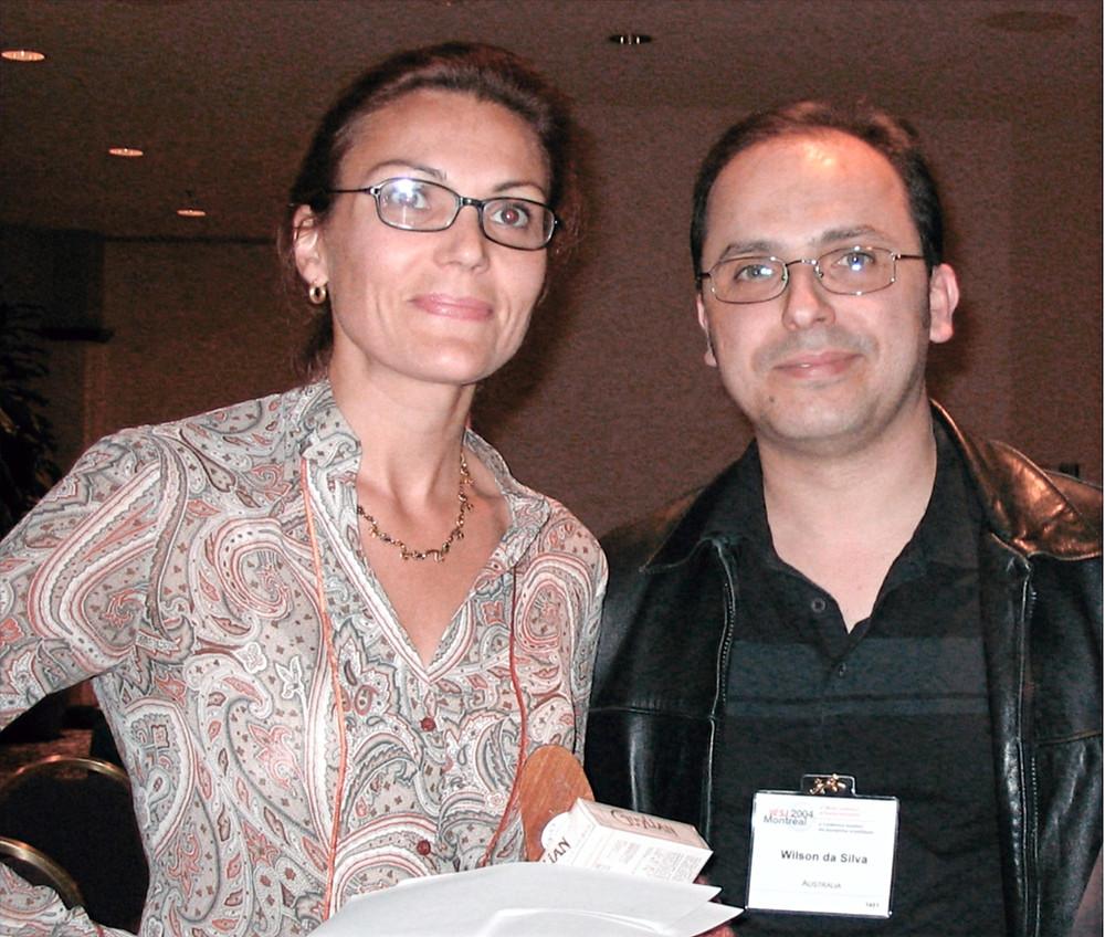 Retiring WFSJ president Veronique Morin with her successor, Wilson da Silva